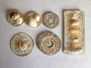 Muscheln und Perlnen für Anhänger aus Schmelzgranulat