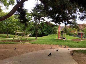 Seilbahn am Spielplatz im Schweizergarten